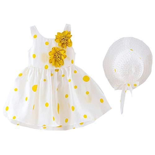 After Six Empire Waist Bridesmaid Dress - LiLiMeng 2019 Toddler Kids Baby Girls Dot Print Flower Sleeveless Princess Ruched Dress+Hat Cap Clothes Outfits Summer Yellow