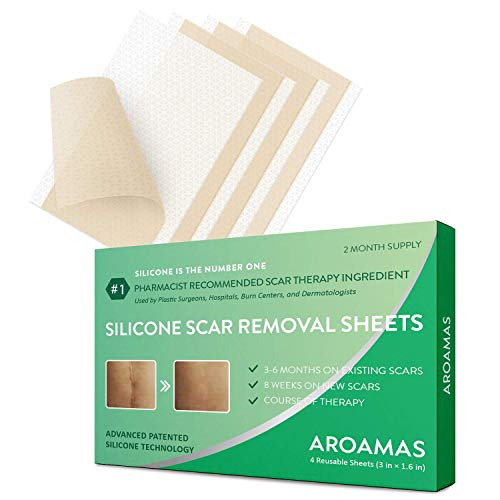 Medical-Grade Scar removal sheet, Clinically Proven, Silicone sheets for Face, Body, Stretch Marks, C-Sections, Surgical, Burn, Acne, Old & New Scars, Clinically Proven, 4 piece by Aroamas Pro