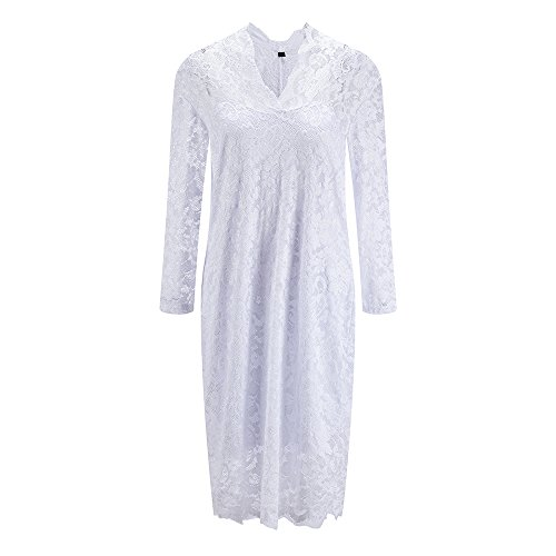Bewish Floral Dress Hollow V Neck Midi Evenig Party Lace Deep Banquet Out Women's Sleeve Dress Long White AnrwSqxpAC
