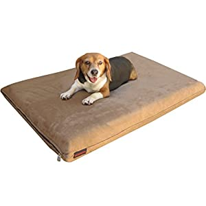 Dogbed4less 2 Pack Gel Cooling Memory Foam Dog Bed for Medium Large Pet with Waterproof Internal Cover, MicroSuede Brown 45X27X3 Inches