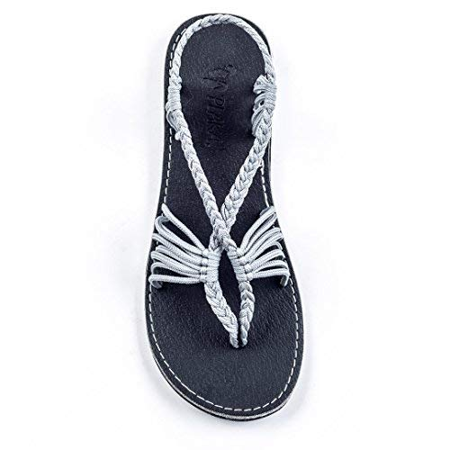 Plaka Flat Summer Sandals for Women Urban Gray Size 7 - Palm Brown Leaf