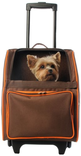 Petote Rio Pet Carrier Bag on Wheels, Chocolate Brown by Petote