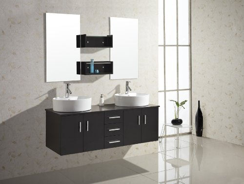 Virtu USA UM-3053-ES Enya 60-Inch Wall-Mounted Double Sink Bathroom Vanity with Ceramic Basins, Chrome Faucets, Espresso Finish by Virtu USA (Image #1)