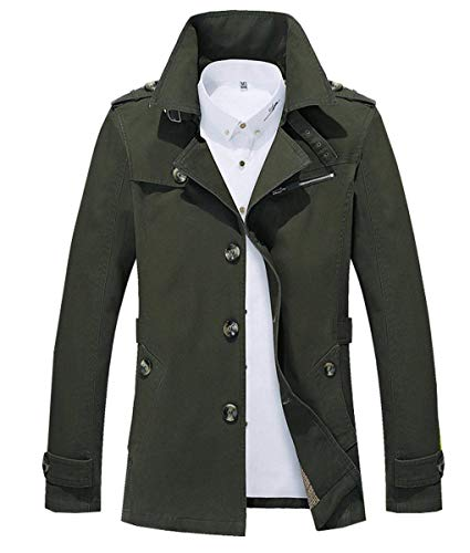 Trench Coat Jackets Collar Armygreen Men's Stand Windbreaker Button Jacket Huixin Lapel Sleeve Coat Long Coats Outerwear Apparel q6IUZHHx