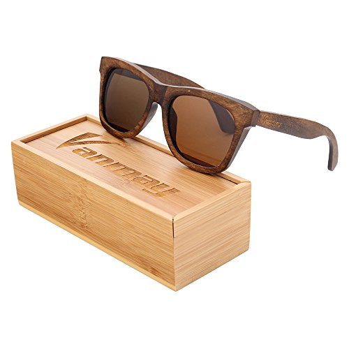 Vanmay Handcrafted Polarized Pyrus-wood Sunglasses Wayfarer Style Brown Frame … (Brown, - Frames Spectacle Wooden
