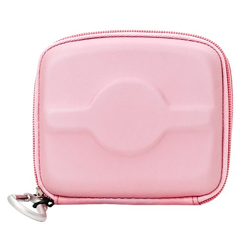 AirPods Travel Carrying Case, Protective Portable Compact Hard EVA Case Bag with Carabiner Mesh Pocket for AirPods iPod Eeadphones Earbuds Accessories (Pink) (Case Silicone Shuffle Protective)