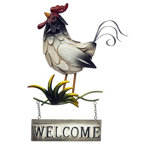 Rooster Welcome Sign - 3D Metal Wall Decor - Hand-Painted - 10