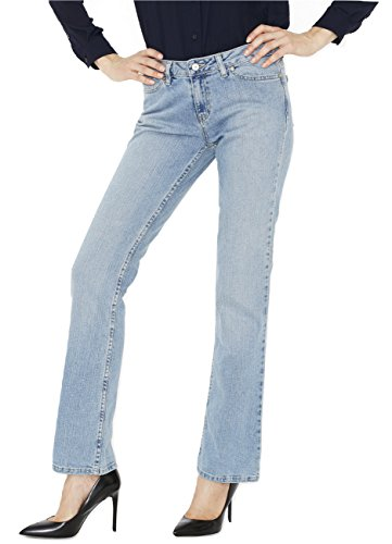 Canyon River Blues Women's Distressed Stretch Jeans - Straight Leg Mid Rise - Light Wash Blue Size 6