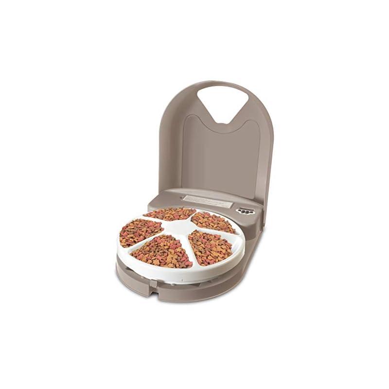 dog supplies online petsafe 5 meal automatic dog and cat feeder, dispenses dog food or cat food, digital clock
