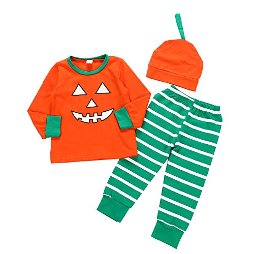 Newborn Baby Girl Boy Halloween Outfits Cartoon Pumpkin Smile Face Romper Top + Pants with Hat Clothes Set (6-7 Years, Orange-Green Striped) -