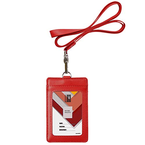 Indressme 2-Sided Vertical Genuine Leather ID Badge Holder with Lanyard (Red)]()