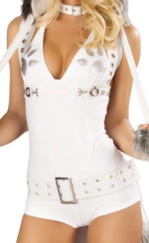 J Valentine Husky Costume - J Valentine Women's Faux Fur Husky Romper Sexy Halloween Costume Small White