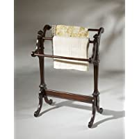 Quilt Rack With Horizontal Raild For Hanging Blankets and Quilts Made of Solid Wood in Cherry Finish