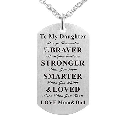 WPFdesign Daughter Dog Tag Necklace Jewelry Keychain Pendant from Mom and Dad ()
