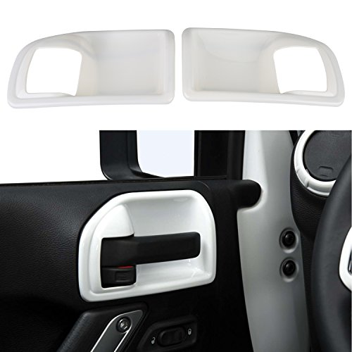 Door Handle Guards (Opar White Inner Door Handle Recess Guard for 2011 - 2018 Jeep JK Wrangler Unlimited 4-Door - Set)