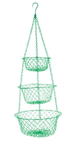 Fox Run 52103 Three Tier Hanging Wire Baskets One Size Green