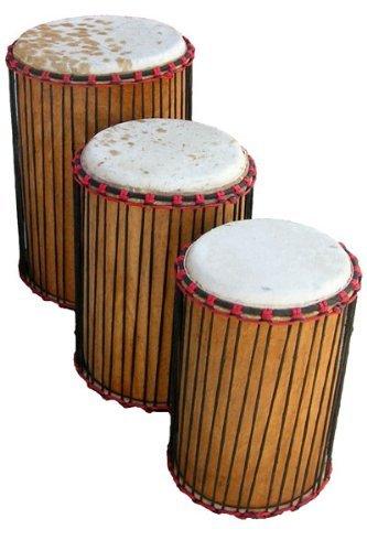 African Dunun Drum Set of 3 - Ivory Coast Dunumba Sangban Kenkeni