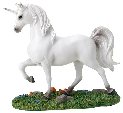Mystical White Unicorn on Small Green Grass Patch Figurine (Mystical Unicorn Collectible Figurine)
