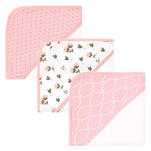 Hudson Baby Unisex Baby Rayon from Bamboo Rich Hooded Towels, Pink Peony, One Size