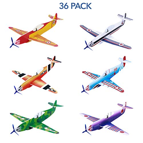 Toyvian Glider Planes Flying Airplane Gliders Toys Foam Plane Models 36 Pack 8 Inch Party Bag Fillers, Carnival Prizes, Outdoor Games for Kids Boys Girls (Planes Airplanes Great Model)