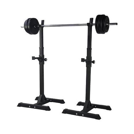 TrainHard - Soporte para barras de pesas (par con 1,6 m, Barra larga y pesas (40 kg: Amazon.es: Deportes y aire libre
