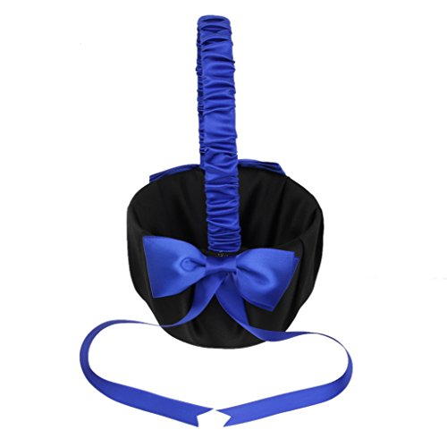 MagiDeal Wedding Day Bridesmaid Flower Girl Basket Decorated with Deep Blue Bowknots Black