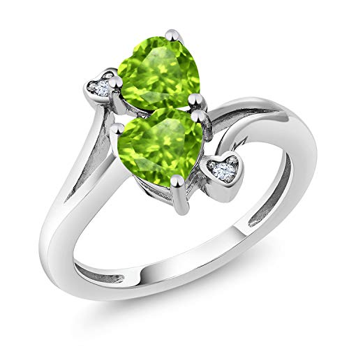 1.69 Ct Heart Shape Green Peridot 10K White Gold Ring (Size (Shape Peridot Wedding Set)