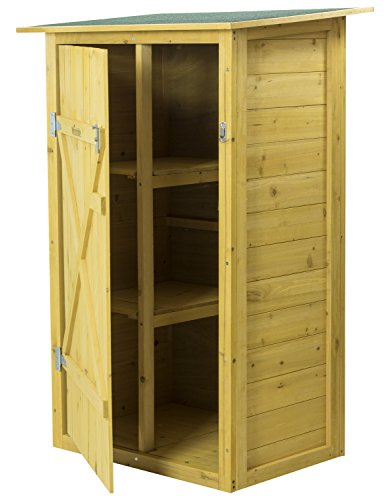 Woodside Wooden Garden Storage Cupboard Outdoor Garden Tool Store Shed