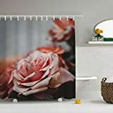 Shower Curtains with Pink in Them BESTAS Love Floral Pink Rose Shower Curtain, Extra Long Bath Decorations Bathroom Decor Sets with Hooks Marriage Gifts for Men and Women in Art Print Polyester Fabric