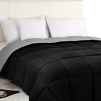 Utopia Bedding Down Alternative Reversible Comforter All Season Duvet Insert Microfiber Box Stitched, 3D Hollow Siliconized Comforter, Queen, Black/Grey