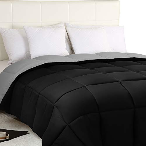 Utopia Bedding Down Alternative Reversible Comforter All Season Duvet Insert Microfiber Box Stitched, 3D Hollow Siliconized Comforter, Queen, Black/Grey