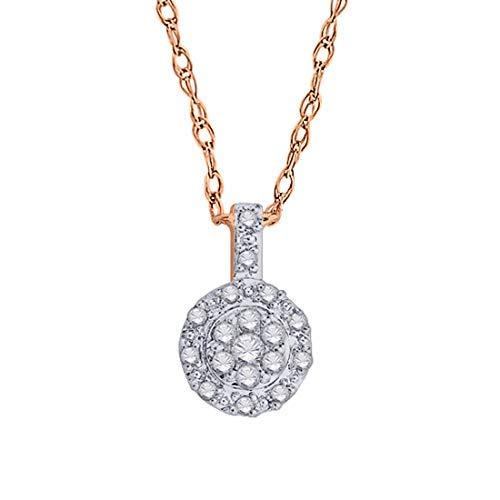 - IGI Certified 10k Rose Gold Round Diamond Accent Halo Frame Fashion Pendant Necklace (0.09 Cttw)