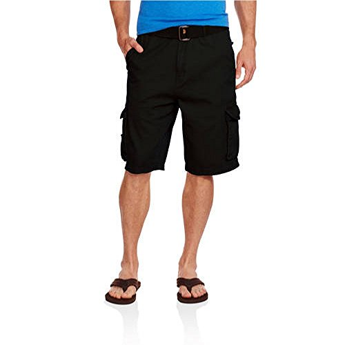 swiss-cross-mens-belted-stacked-twill-cargo-shorts-34-black