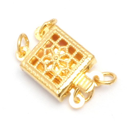 GEM-inside Clasp Yellow Gold Plated Filigree Box Jewelry DIY Charms Pendants Loose Beads Findings Accessories 1Pcs 2 Strands 9X9MM