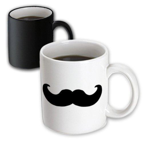3dRose Black Mustache on White-Ironic Hipster Moustache-Humorous, Magic Transforming Mug, 11-Ounce (Coffee Mug Moustache)