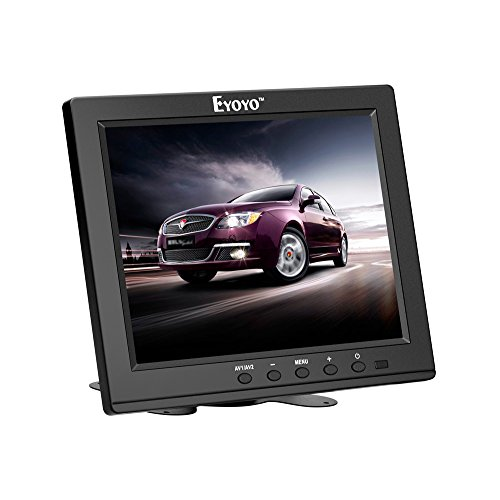 Eyoyo 8 Inch HDMI Monitor 1024x768 Resolution Display Portable 4:3 TFT LCD Mini HD Color Video Screen Support HDMI VGA BNC AV Ypbpr Input for PC CCTV Home Security with ()