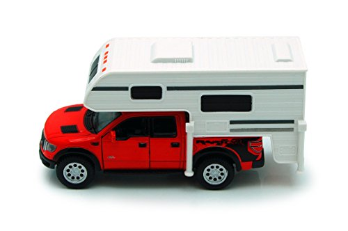 150 Pull - Red 6-inch 2013 Ford F-150 SVT Raptor SuperCrew Camper 1/46 Scale with Pullback Action