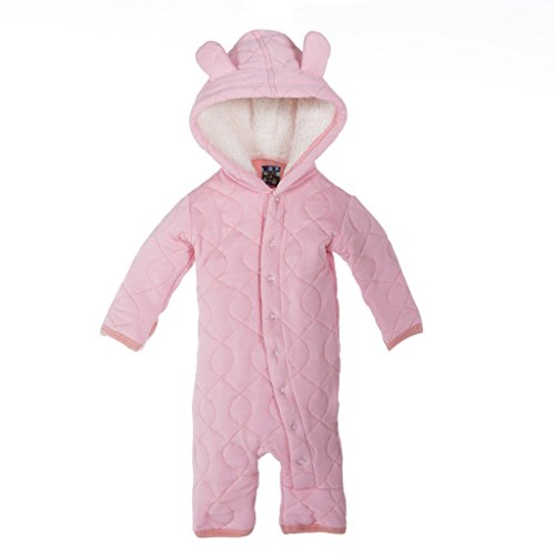 KicKee Pants Girls Quilted Hoodie Coverall with Sherpa-Lined Hood, Lotus with Blush, 18-24 Months by Kickee Pants