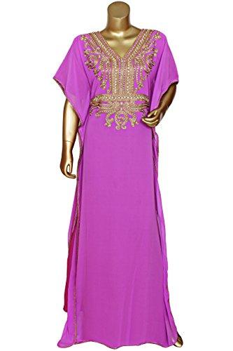 Lilac V Neck Long Sleeve Embellished Embroidered Georgette Kaftan/Abaya/Gown/Caftan/XL 9056/1/24 (XL, Lilac)