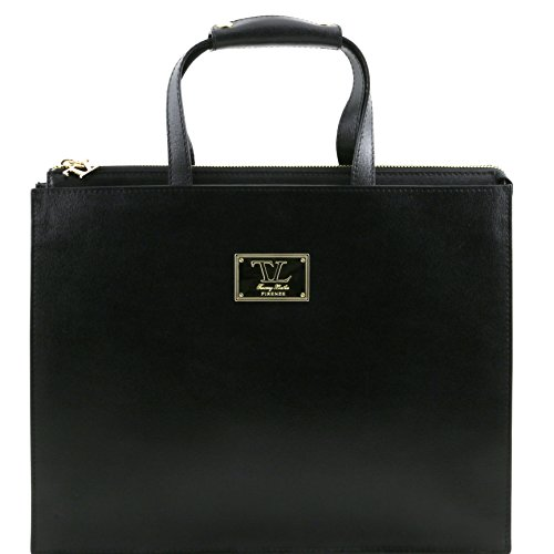 Tuscany Leather Palermo Saffiano Leather briefcase 3 compartments for woman Black by Tuscany Leather