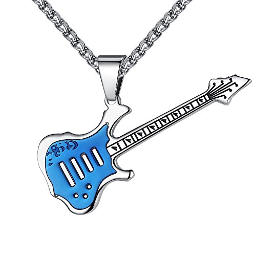 Men's Stainless Steel Guitar Pendant Necklace, Blue-Silver-Tone, 24'' Link Chain, (Steel Guitar Necklace)