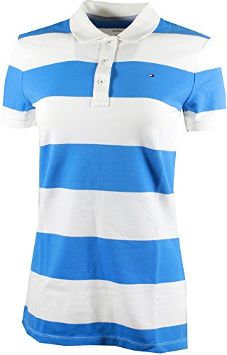 Tommy Hilfiger Stripe Shirt - Tommy Hilfiger Women's Relaxed Fit Polo Shirt (Large, Blue/White Stripes)