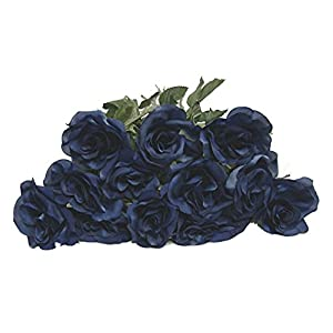 "20"" Single Open Rose Artificial Silk Wedding Craft Flowers Home Decor (Dozen) 105"
