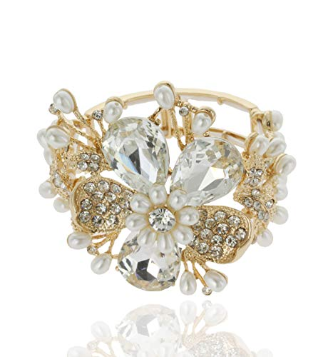 - SP Sophia Collection Duchess Daisy Floral Bouquet Crystal Rhinestone Stretchable Corsage Bracelet in Ginger Gold