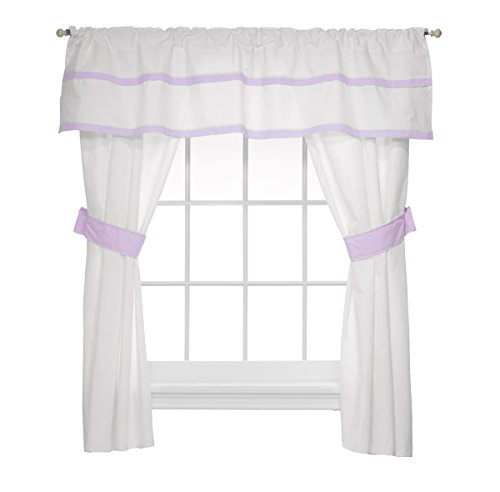 Baby Doll Medallion 5 Piece Window Valance and Curtain Set, Lavender