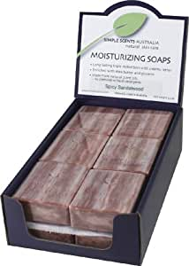 French milled Spicy Sandalwood wrapped natural soap (12 bars)