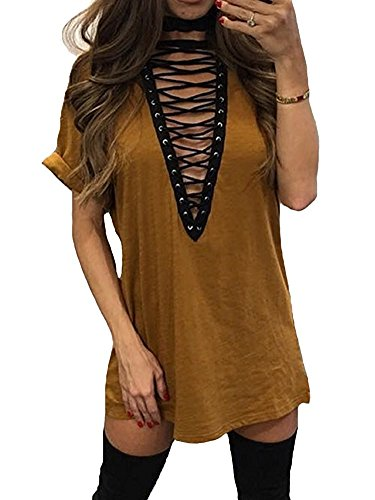Womens Lace Up Front Half Sleeves Casual Loose T shirt Dress Brown L