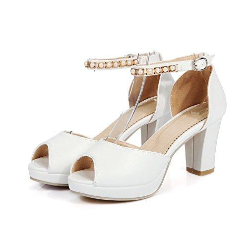 Allhqfashion Femmes Boucle Talons Hauts Pu Solide Peep Toe Sandales Blanc