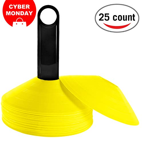 REEHUT (Set of 25 Agility Disc Cone with Free User E-Book & Plastic Holder - Perfect for Soccer, Football & Any Ball Game to Mark - Disc Mini Training Cones - Field Markers - Yellow