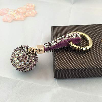 Amazon.com : Key Chains - Rhinestones Ball Luxury Leather ...